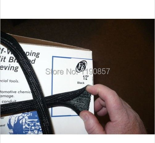 1/2 ID:13MM split braided sleeving cable F6  overlaps by 25%  10FT Self closing braided sleeving cable