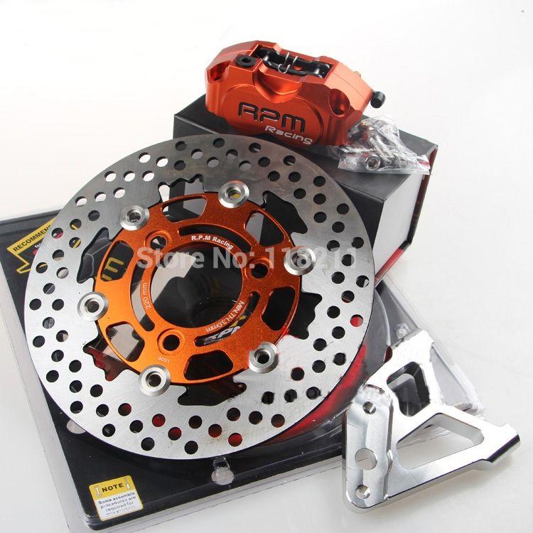 RPM MOTOR Motorcycle Fork Brake Pumps Brake Calipers+Brake Caliper Adapter Bracket+200/220mm Disc Set Universal For Yamaha