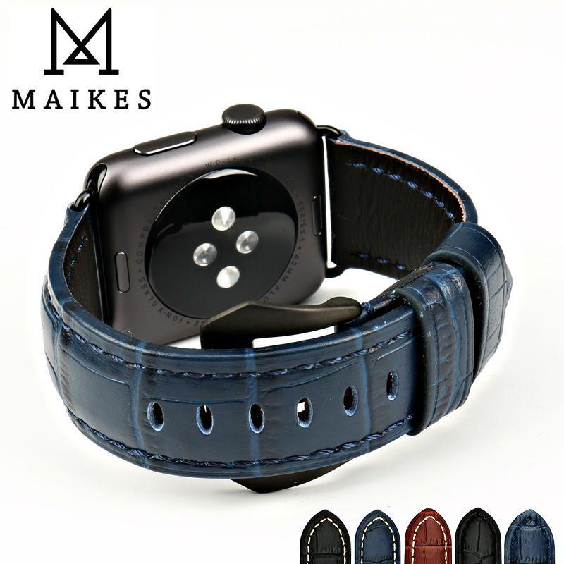 MAIKES montre accessoires bracelet en cuir véritable montre bracelet pour Apple Montre 4 Bande 44mm 40mm 38mm 42mm iwatch bracelet