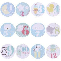 Bayi Ibu Hamil Bulanan Memotret Stiker Menyenangkan Lucu Kartun Merah Muda/Biru Bulan 1-12 Milestone Pakaian Dekorasi Stiker