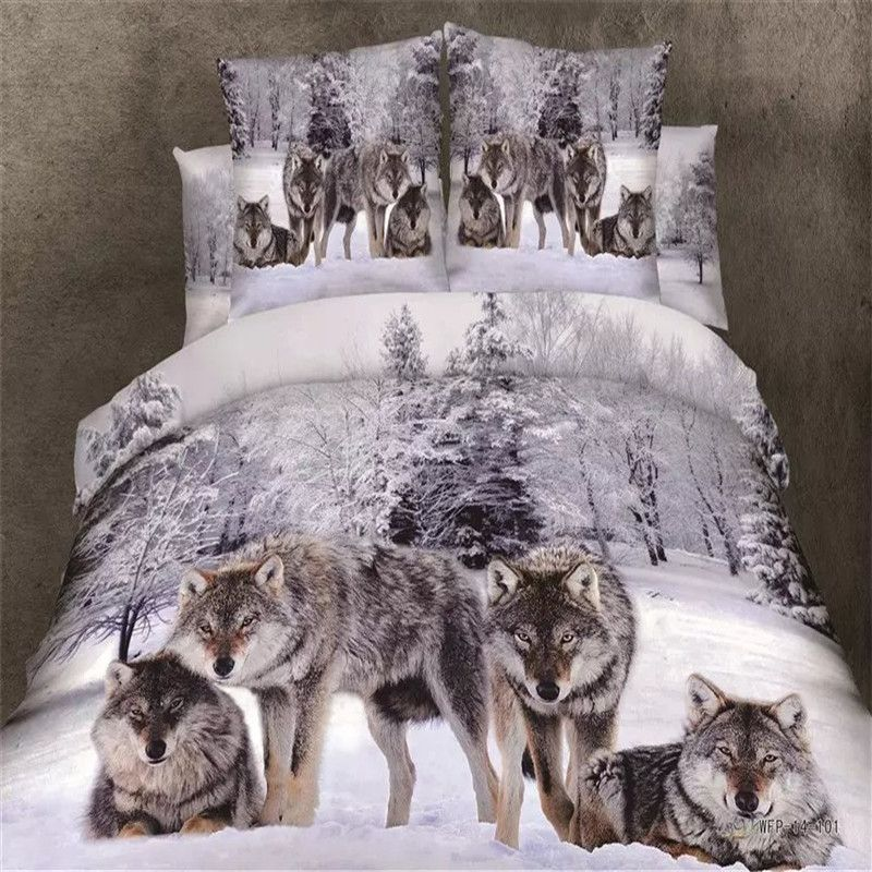 Medusa 3d wolf king/queen/twin size 3/4pcs bedding set of duvet/doona cover bed sheet <font><b>pillow</b></font> cases bed linen set