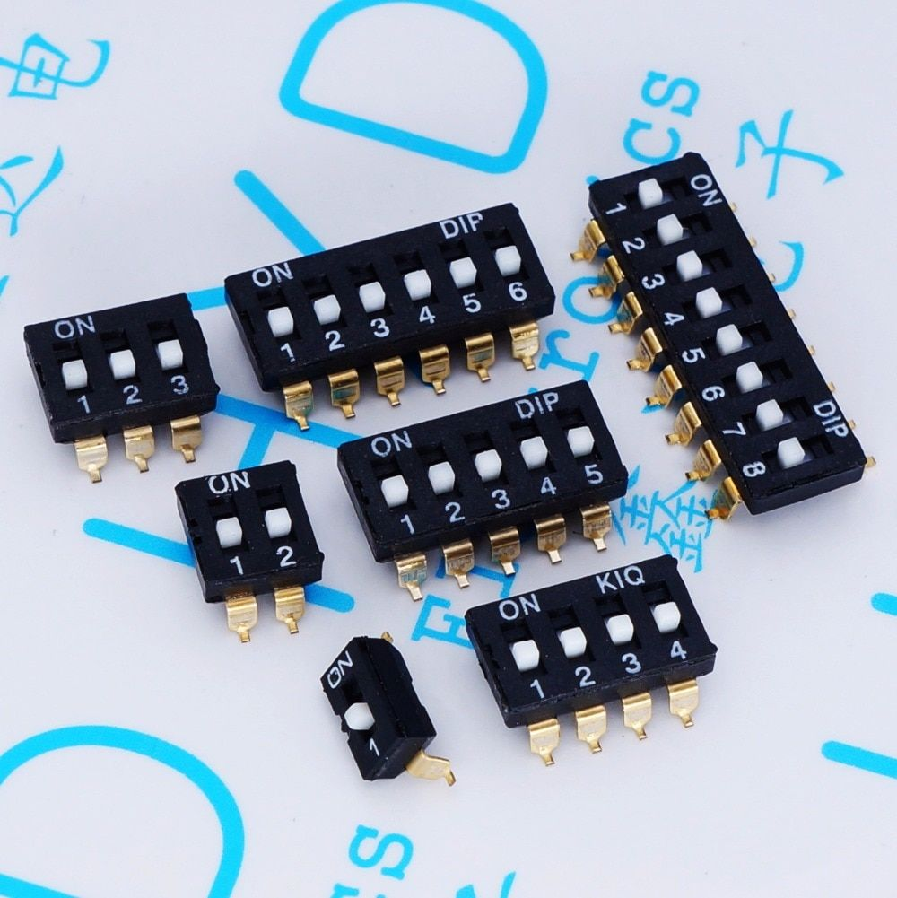 DIP switch Toggle Switches 2.54 SMD 1P/2P/3P/4P/5P/6P/8P black 2.54MM SMD golden pin