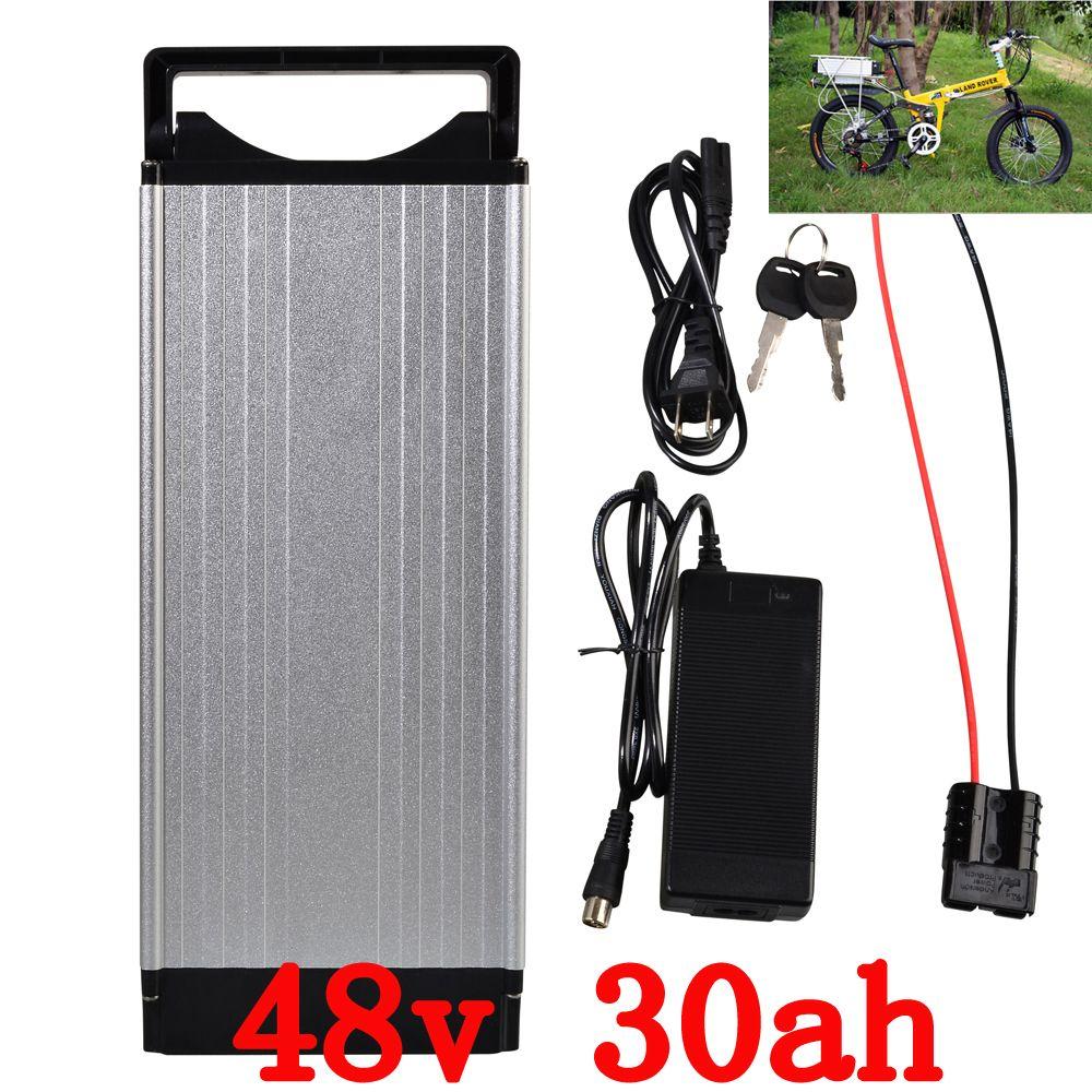 Free customs fee 1000W 48V 30AH Ebike battery 48V Li-ion battery Use for LG 3400mah celll with Tail light 30A BMS Free