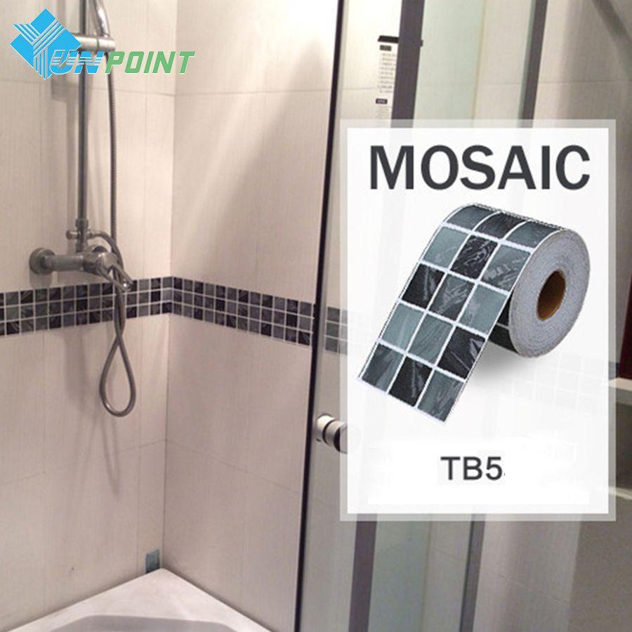 Classical mosaic stickers vinyl waterproof waistline self adhesive wallpaper, kitchen bathroom tiles pvc wall sticker borders