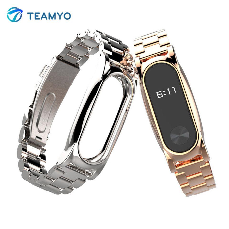 TEAMYO Xiao mi mi band 2 sangle sans vis en métal Bracelet de remplacement pour xio mi band 2 Bracelet intelligent bracelets accessoire