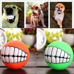 Engraçado Animais de Estimação Filhote de Cachorro Do Gato Do Cão Bola Brinquedo Dentes PVC Som Da Mastigação Cães Jogar Buscar Squeak Brinquedos Pet Fornecimentos