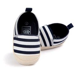 2018 Fashion Blue Striped Baby Boy Shoes Lovely Infant First Walkers Good Soft Sole Toddler Baby Shoes Hot Sale