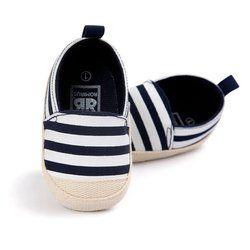 2018 Mode Bleu Rayé Bébé Garçon Chaussures Belle Infantile Premiers Marcheurs Bonne Doux Semelle En Bas Âge Bébé Chaussures Vente Chaude