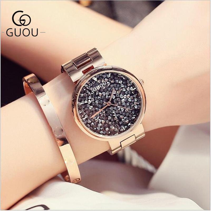 GUOU часы Топ Luxury Изысканный Кварцевые Для женщин Часы мода diamond Сталь браслет Для женщин WATC часы Saat Relogio feminino