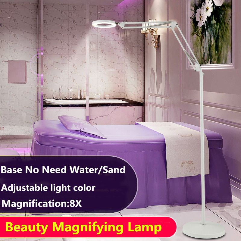 Magnifier Lamp 8X Floor Lamp Rolling Stand Adjustable Magnifying Light LED Beauty Manicure Tattoo Skincare Equipment 2 Colors