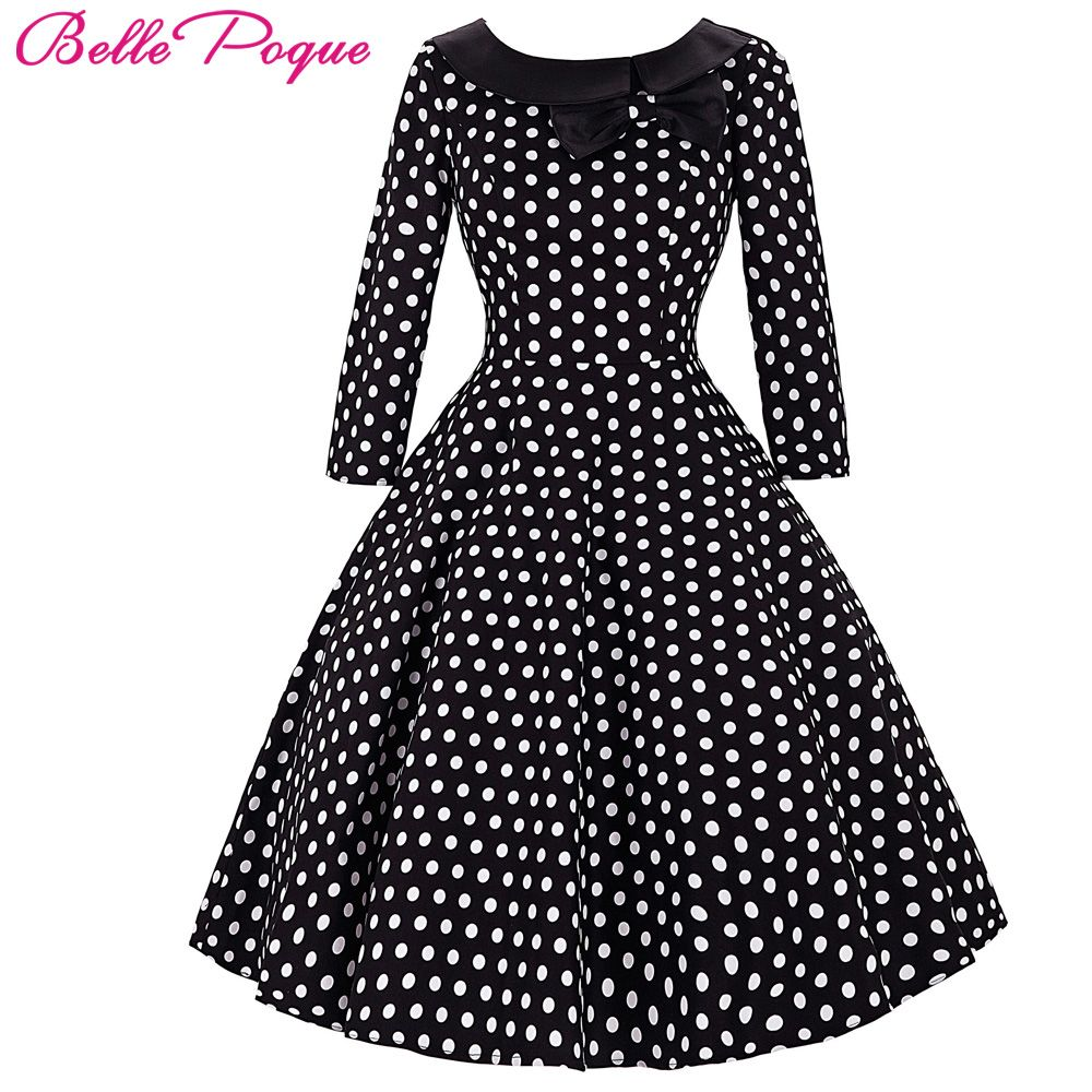 Belle Poque Women Skater Robe Vintage Summer Dresses 2017 3/4 Sleeve Polka Dot Tunic Party Casual Wear Dress 50s Woman Clothing