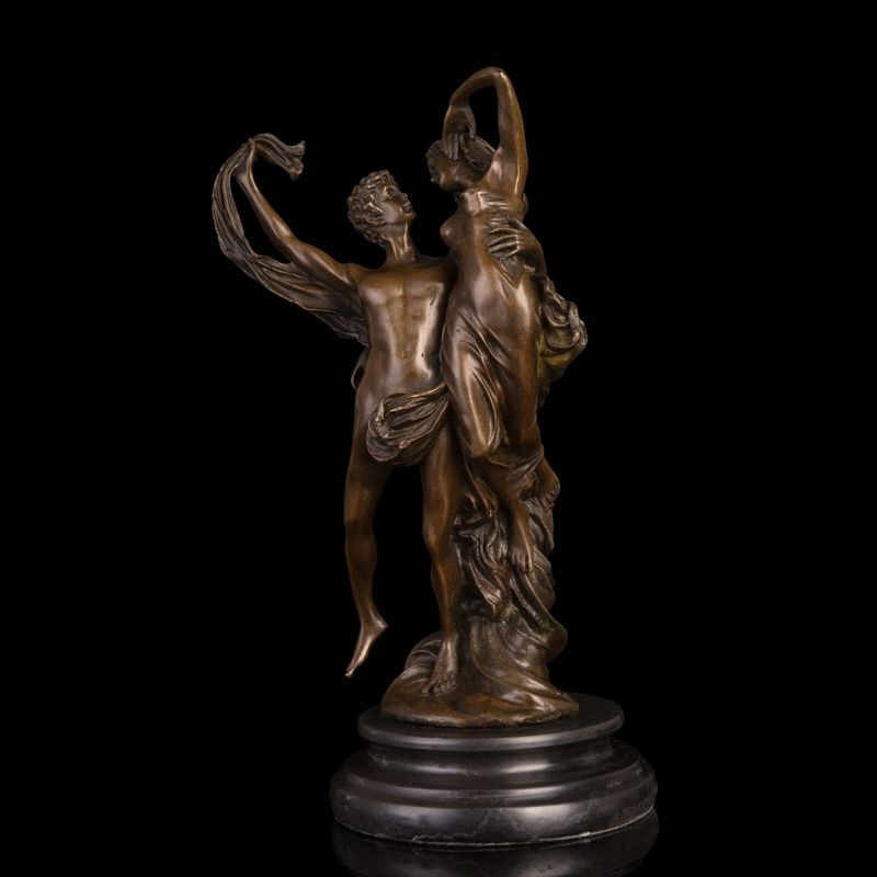 ATLIE BRONZES Handmade Crafts Apollo and Daphne Bronze Statue Lover Sculptures Romantic Valentine's Day Gift
