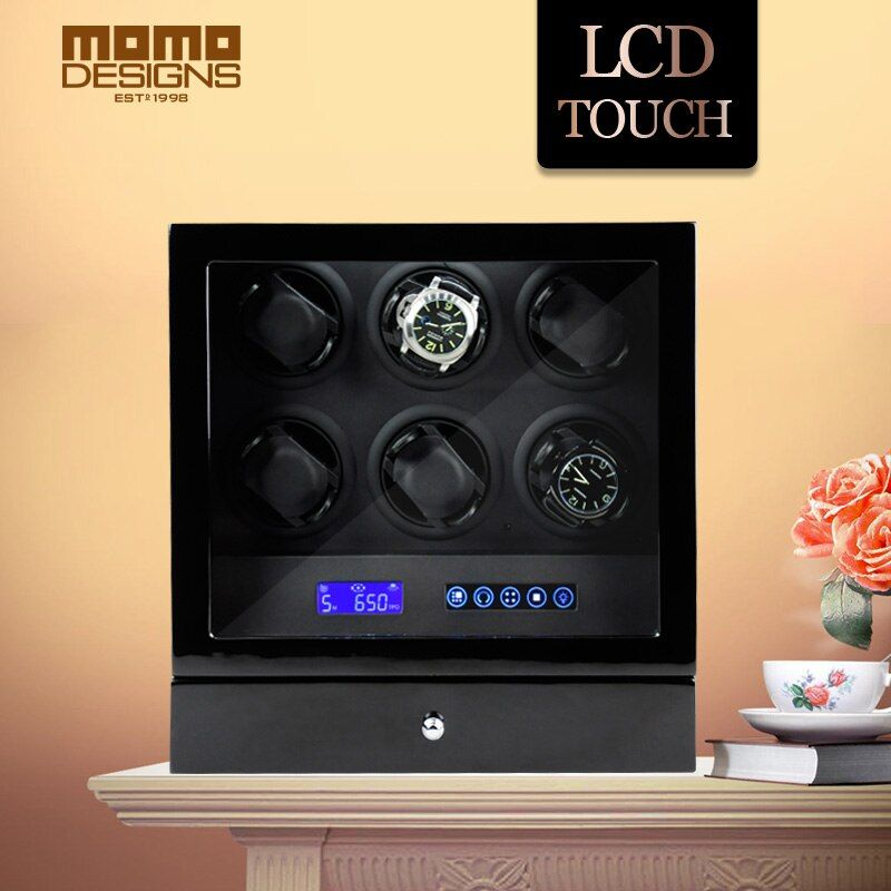 HOTSALE Luxury Watch winder automatic watch display for 6 watches with LCD control/Door switch function/LED light/Remote control
