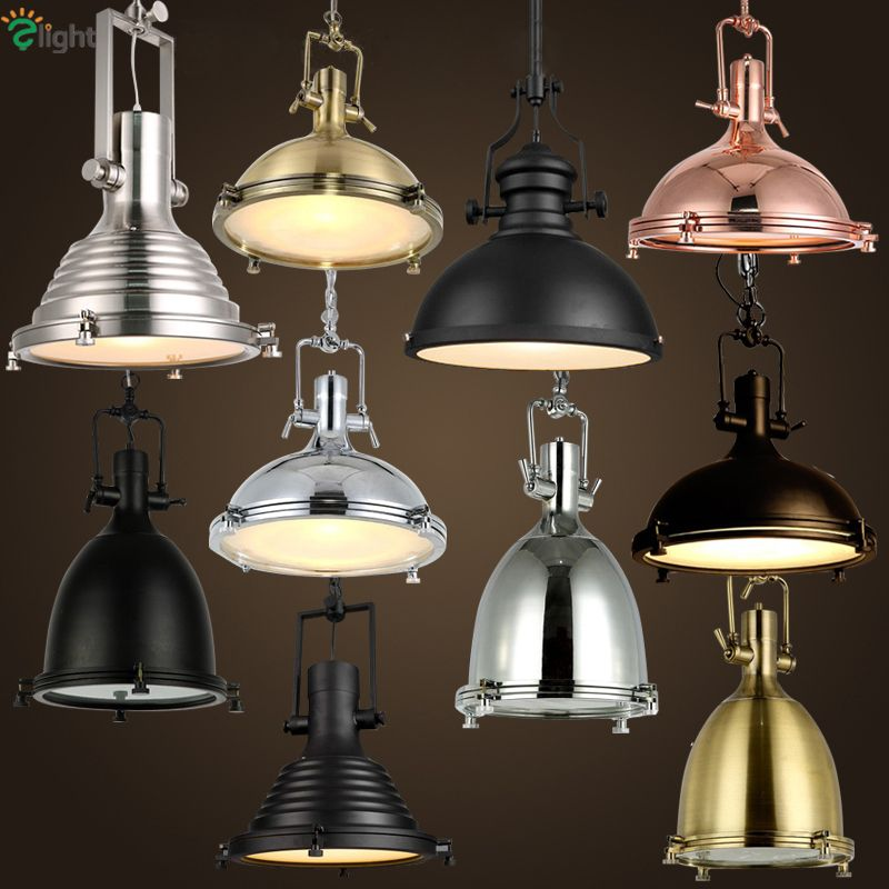 American Retro Heavy Metal Industrial Led Pendant Light Plate Chrome Metal Frosted Glass Shades Loft Bar 1 Head Hanging Light