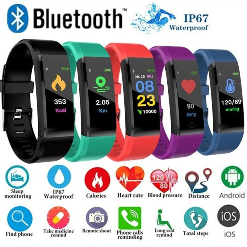 ID115Plus Smart Bracelet Sport Bluetooth Wristband Heart Rate Monitor Watch Activity Fitness Tracker Smart Band PK Mi band 2