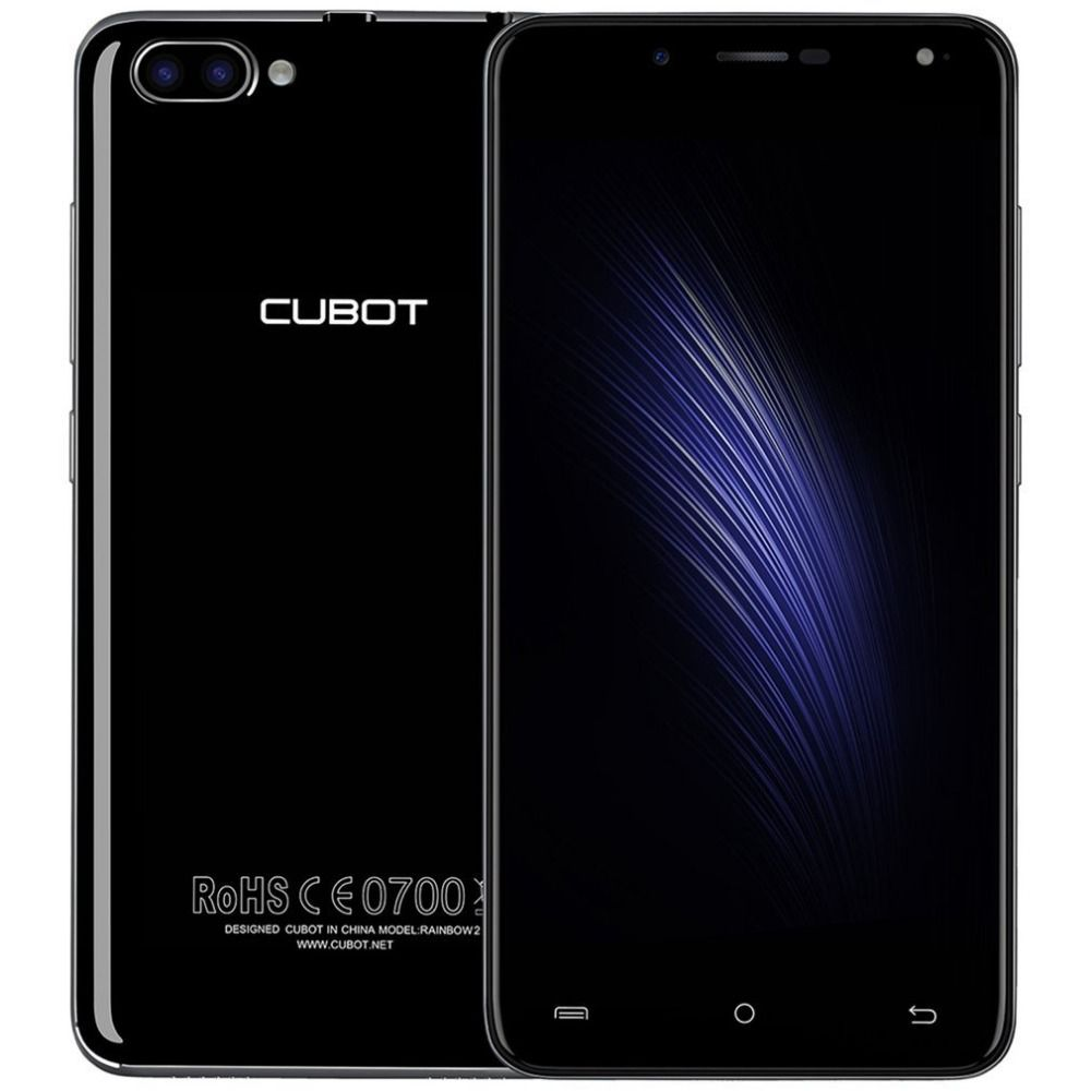 CUBOT Rainbow 2 Mobile Phone 5.0 Inch MTK6580A Quad Core 1GB + 16GB ROM 5+13MP Dual Rear Cameras 2350mAh Android 7.0 Smartphone