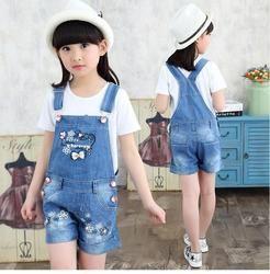 Baru Bayi Gadis Jeans Overall Mode Musim Panas Anak-anak Celana Jeans Pendek Anak Busur Pola Indah Celana untuk Anak Perempuan 3-8 tahun Pakaian
