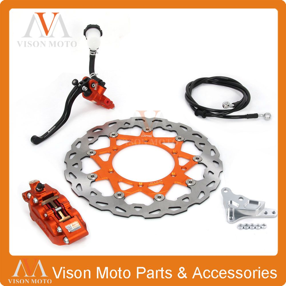 Front Brake System Brake Lever Master Cylinder Hose 4 Pot Caliper Adaptor 320MM Disc For KTM EXC SX SXF XCF XCW XCWF XC 125-530