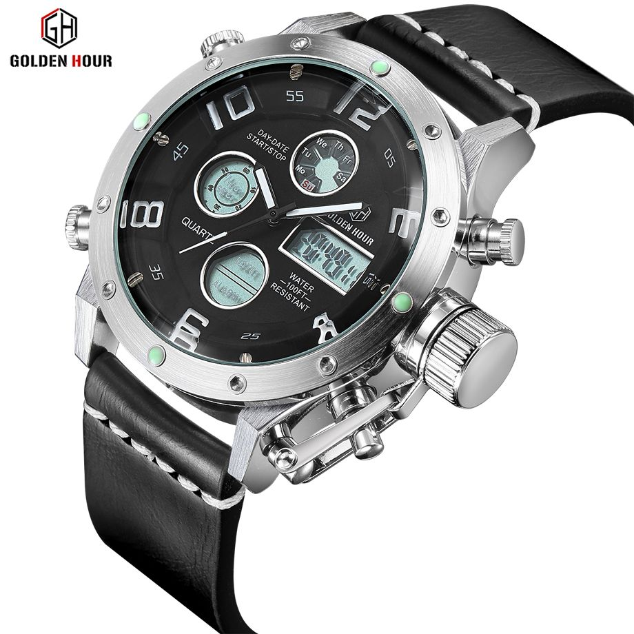Luxury Brand Waterproof Leather Quartz Analog Watch Men Digital LED <font><b>Army</b></font> Military Sport Wristwatch Male Clock relogio masculino
