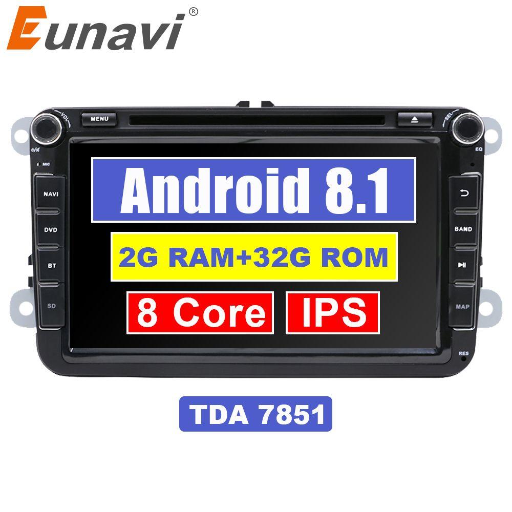 Eunavi 8 ''2 Din Android 8.1 auto dvd player für VW GOLF 6 Polo Bora JETTA B6 PASSAT Tiguan 4G WIFI 2Din Radio Stereo GPS Navi