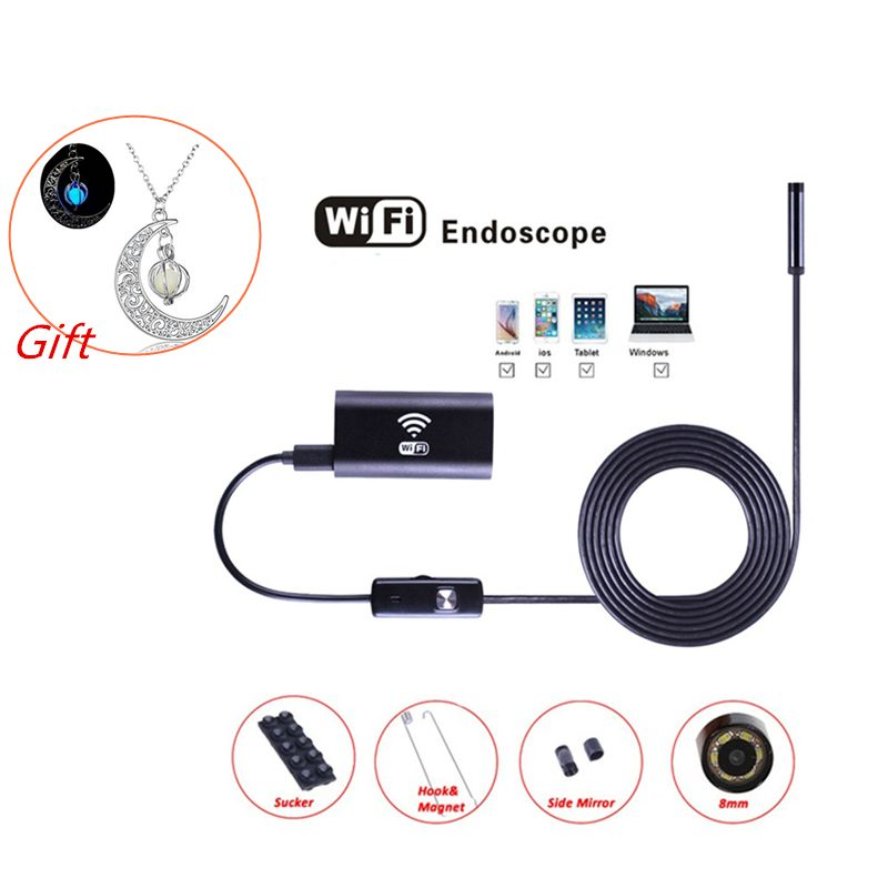 Wifi Caméra D'endoscope USB avec LED 8 mmHD Semi Rigide Tube D'endoscope Sans Fil Wifi Endoscope D'inspection Vidéo pour Android iOS