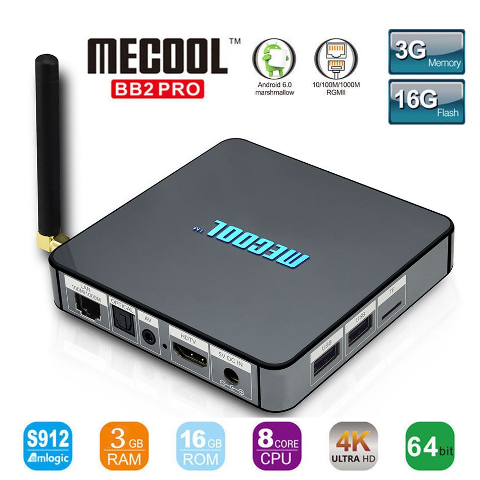 MECOOL BB2 Pro Android TV Box Amlogic S912 64 bit Octa core ARM Cortex-A53 3GB 16GB 4K WiFi BT4.0 2.4G/5.8G Wifi Set-top Boxes