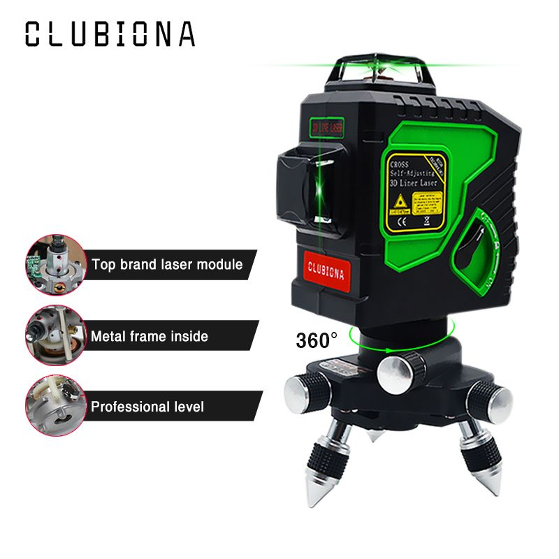 Niveau Laser Clubiona 3D 12GH 12 lignes avec lignes de faisceau Laser vert Super puissantes auto-nivelantes et batterie certifiée MSDS