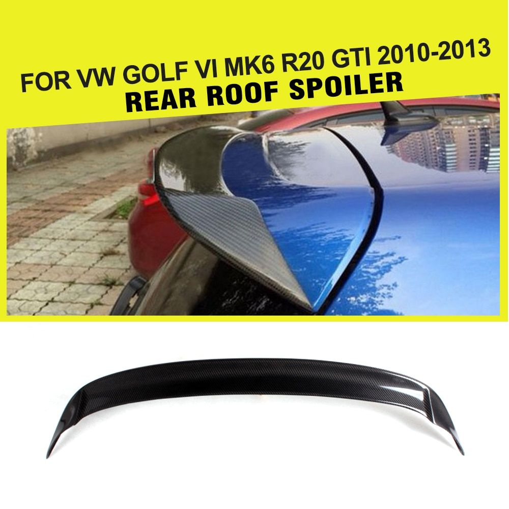 Car Style Carbon fiber auto rear roof lip spoiler wings for VW Golf VI MK6 R20 GTI 2010-2013
