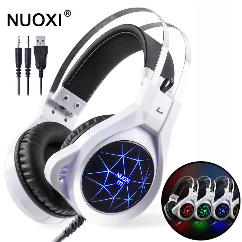 NUOXI N1 Computer Stereo Gaming Headphones Best Casque Deep Bass Game Earphone <font><b>Headset</b></font> with Mic LED Light for PC Gamer