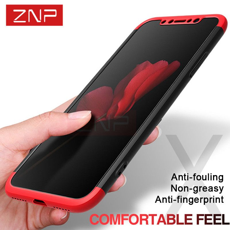 ZNP Luxury 360 Degree Full Protection Case For iPhone X 10 With Tempered Glass Cover Cases For iPhone X 10 Case Protective Shell