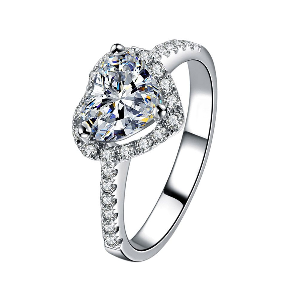 1Pc Romantic Love Heart Shaped Zircon Crystal Finger Ring Wedding Party Fine Jewelry Gift For Women CX17