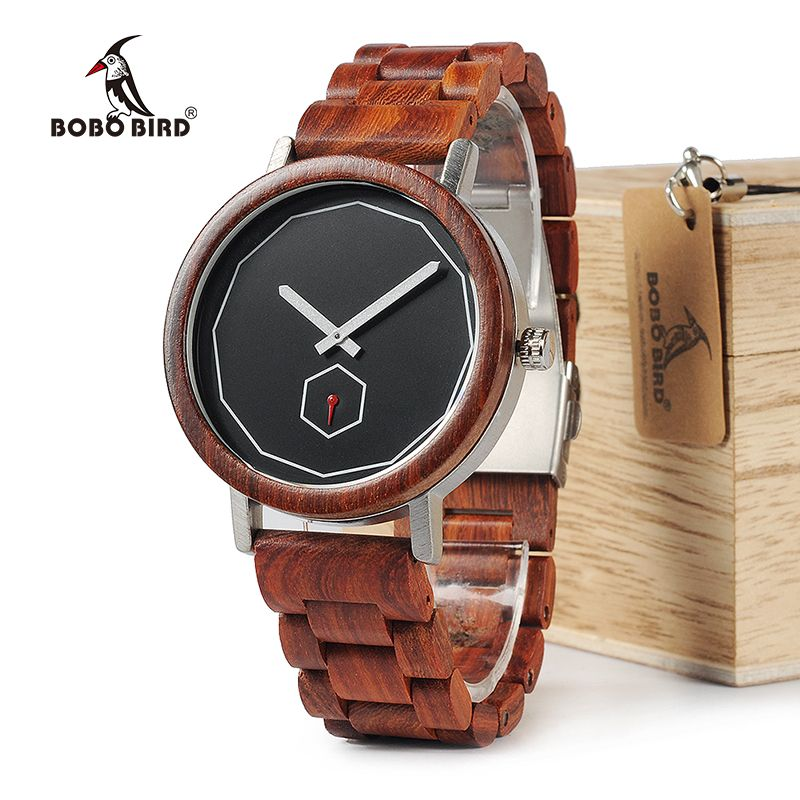 BOBO BIRD WM29 Mens Wooden Watches Full Red Wood Band Fashion Brand Design Simple Life Quartz Watch For Men Accept OEM Customize