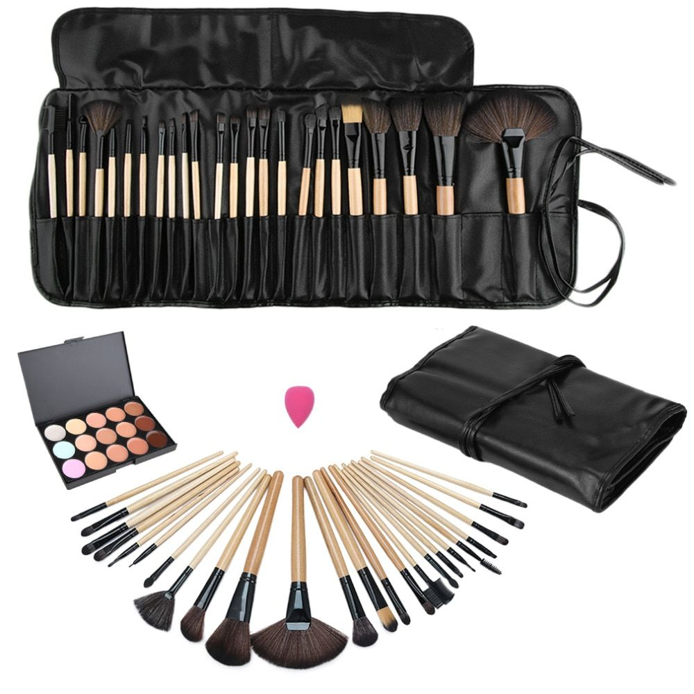 1 Satz Make-Up Pinsel 15 Farbe Schönheit Make-Up Concealer Platte + 24 stücke Pro Make-Up Kosmetikpinsel + Schwamm Puff Set Drop verschiffen