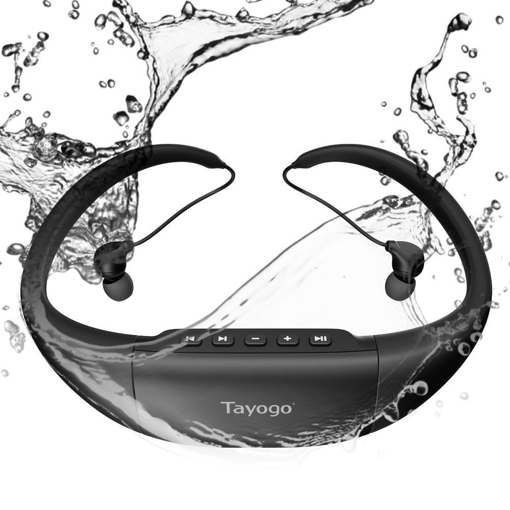 Tayogo New Bluetooth Waterproof MP3 Music Player headphone Sport wireless swimming mp3 with FM bluetooth Pedometer for Swimming