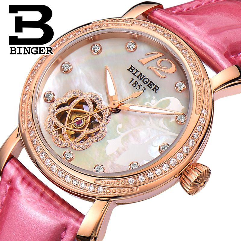 Echtes Schweiz BINGER Marke Frauen automatische mechanische selbst wind sapphire uhr weibliche königin rose gold wasserdicht diamant