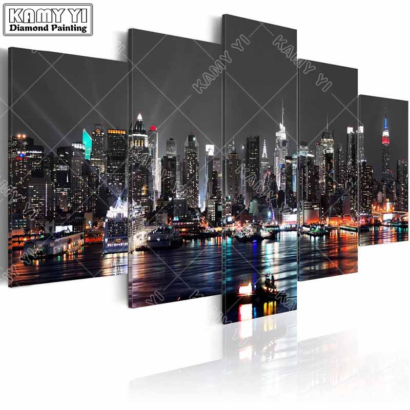 full square drill Diamond embroidery City night scene 5D DIY diamond painting Cross Stitch Multi-picture home decoration