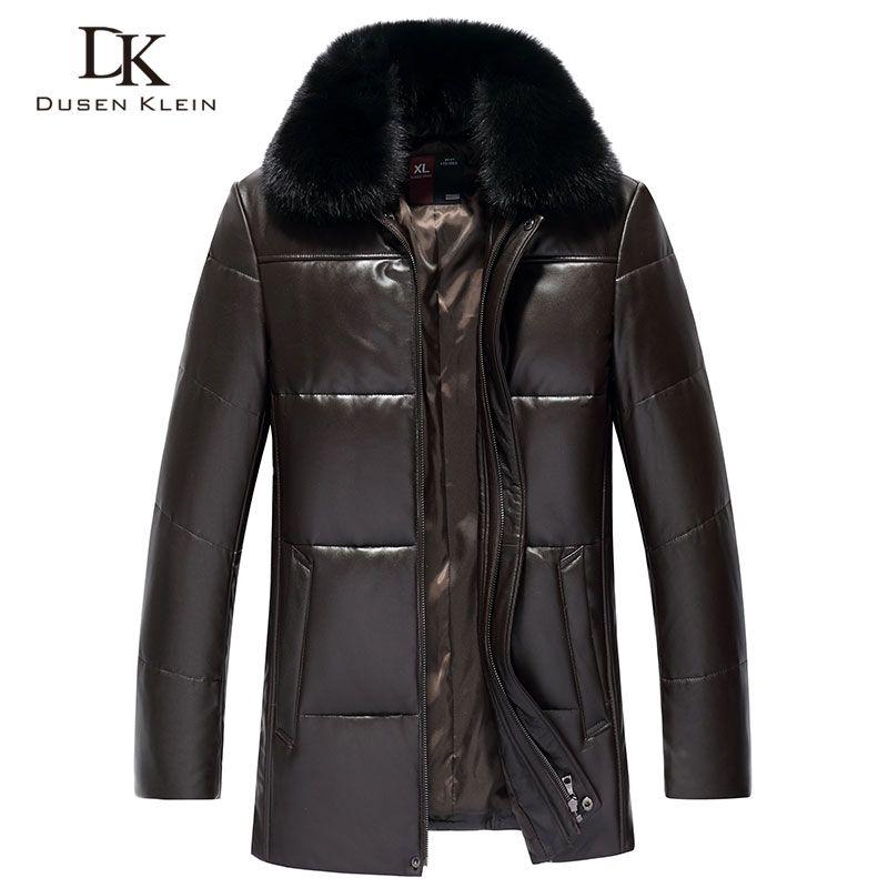 Men's Genuine Leather Down Jacket Winter Warm Short Coat Black Outerwear Sheepskin 2018 New Designer Brand Luxury S18001