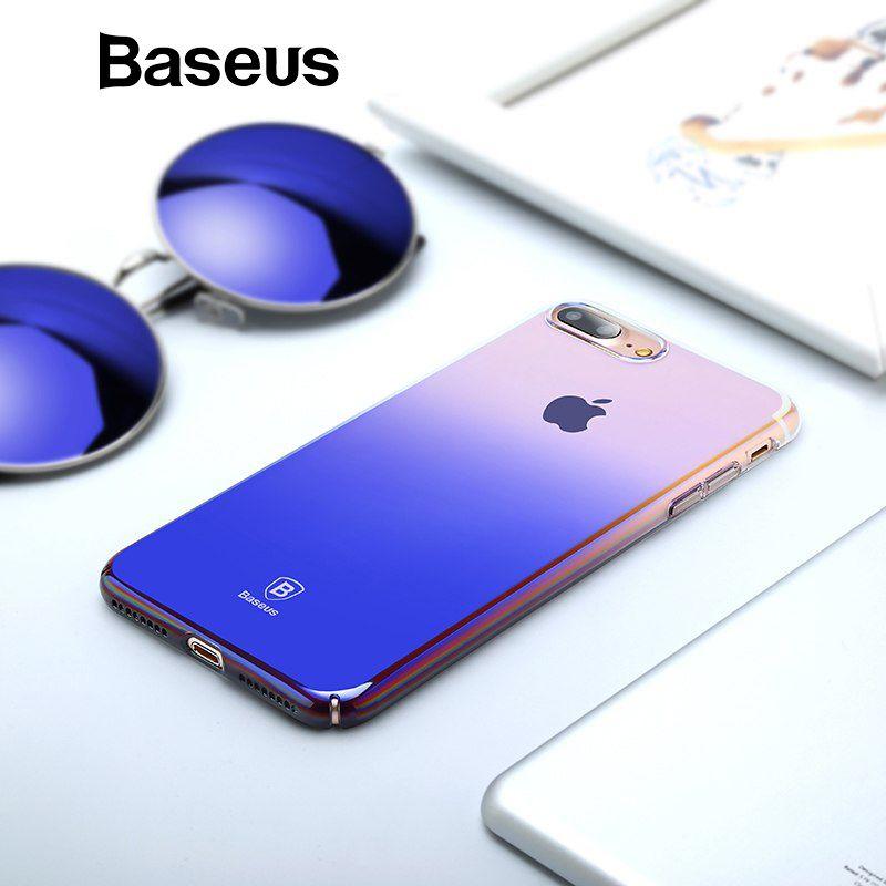 Baseus Luxus Gradienten Fall Für iPhone 7 Überzug Blau Ray Licht Ultra Dünne Kunststoff Fall Für iPhone 7 7 Plus 8 8 Plus Coque Funda