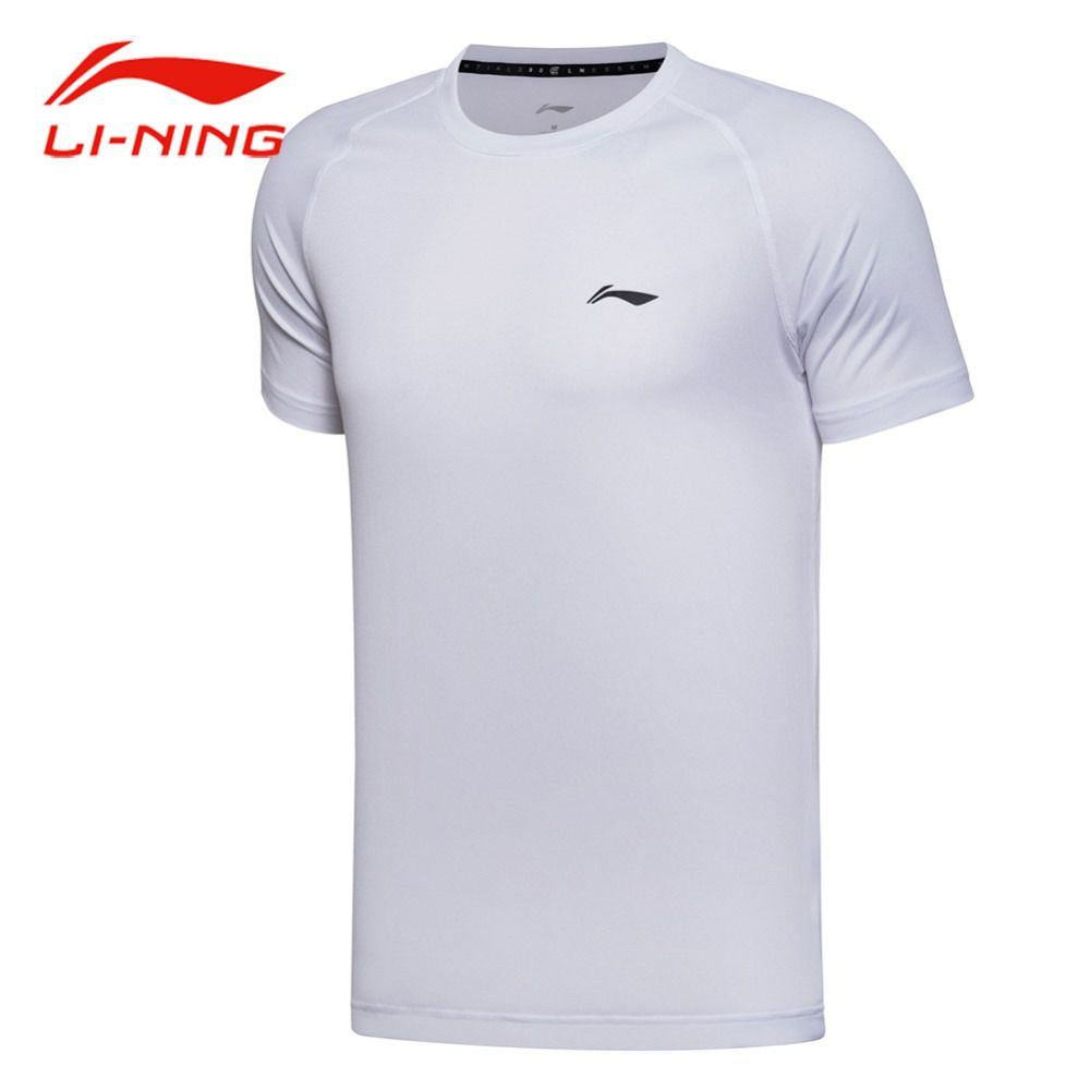 Li Ning Men Training Quick Dry Cool T-shirt Short Sleeve Elastic 100% Polyester Tops LINING Classic Matched Sports Tees ATSM257