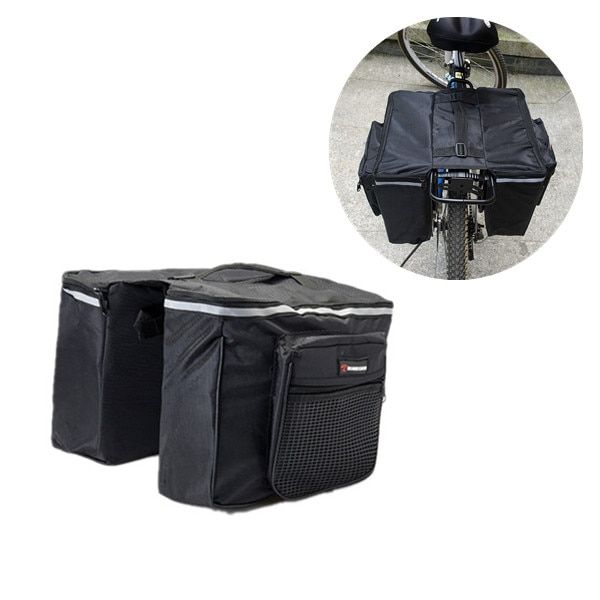 ROBESBON 2 in 1 Bicycle Bags Black Cycling <font><b>Rear</b></font> Double Side Rack Bag Tail Seat Pannier Outdoor Bicycle Saddle Storage Bags