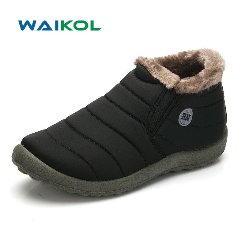 Waikol Мужская зимняя обувь однотонные зимние сапоги теплые водонепроницаемые лыжные ботинки на нескользящей подошве с хлопчатобумажным уте...