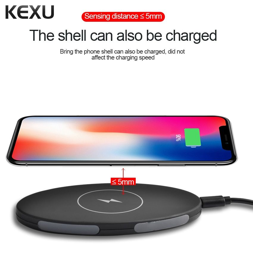 KEXU Qi Wireless Charging Pad 3 Coils Qi Wireless Charger for Samsung Galaxy S7/S7Edge/S6 S8 Plus Edge and All Qi-Enabled Device