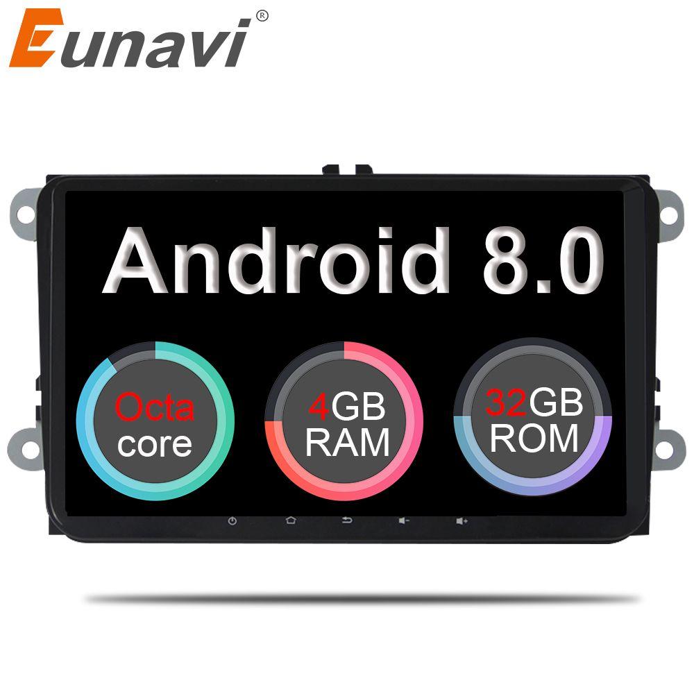 Eunavi 2 din 9'' Android 8.0 4G RAM Car Radio Stereo GPS Navi for VW Passat B6 CC Polo GOLF 5 6 Touran Jetta Tiguan Magotan Seat