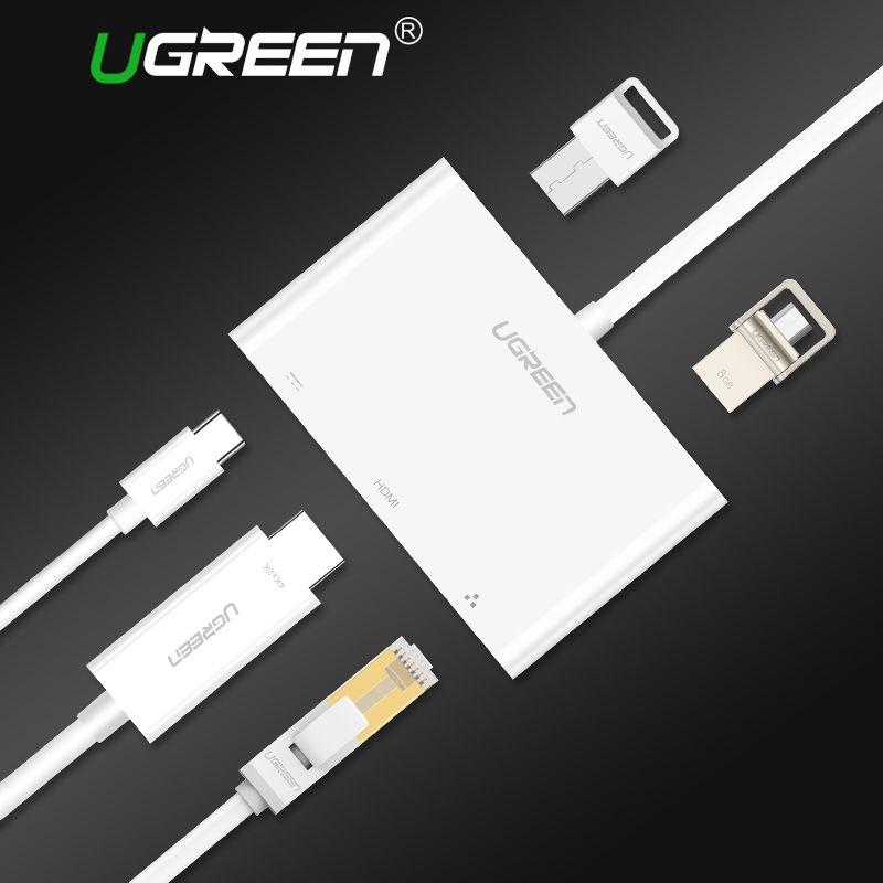 Ugreen USB C HUB Type-C à HUB HDMI VGA RJ45 Adaptateur avec USB-C PD Port Splitter pour MacBook Pro Huawei Compagnon 10 USB 3.0 HUB