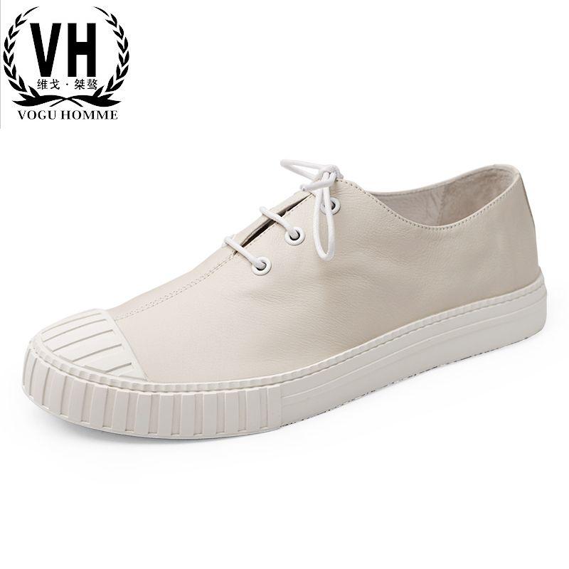 Тенденция для отдыха Новые весенние туфли мужские кожаные ступит комфорт повседневная обувь белого цвета Ботинки и туфли мужчин.