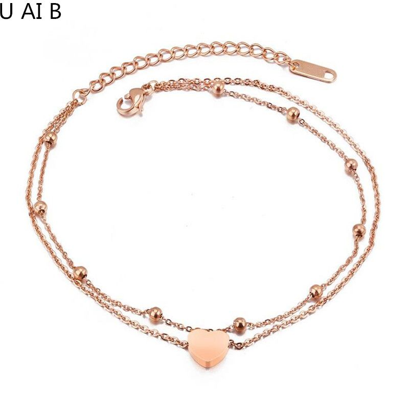 Korean version of the double layer of titanium steel heart love chain foot chain fashion rose gold color anklet for women