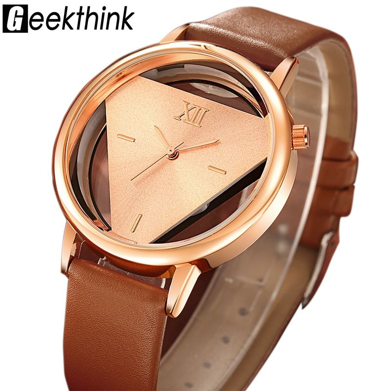 GEEKTHINK Hollow Cuarzo Reloj de Mujer de Marca de Lujo de Oro Señoras Reloj Correa de Cuero Del Vestido Ocasional Hembra Niñas de Tendencia
