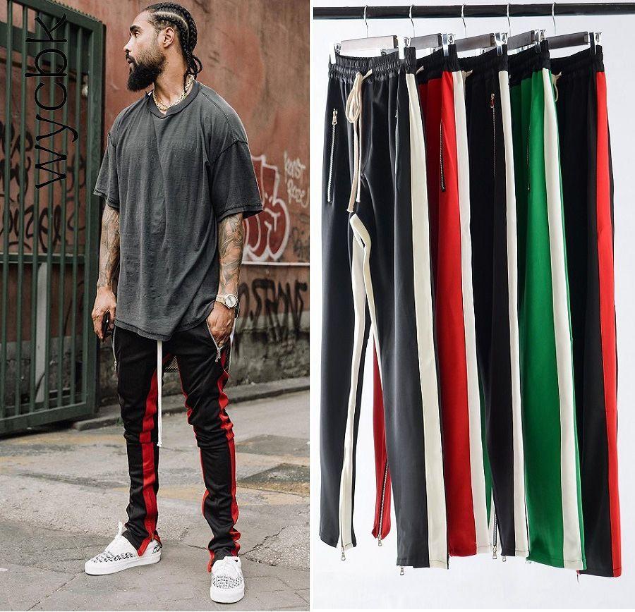 7 Colors Zipped Ankle <font><b>Track</b></font> Pants Waist Banding Panelled Side Stripe Zip Pockets Color Contrast Retro Trousers