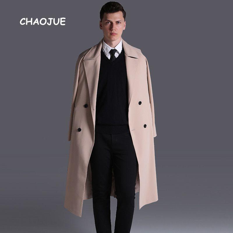 CHAOJUE S-6XL Extra Langen Graben Herren 2017 Herbst/Winter Kausal Lose Outwear Europa und Amercian Männlichen Zweireiher Pea mantel