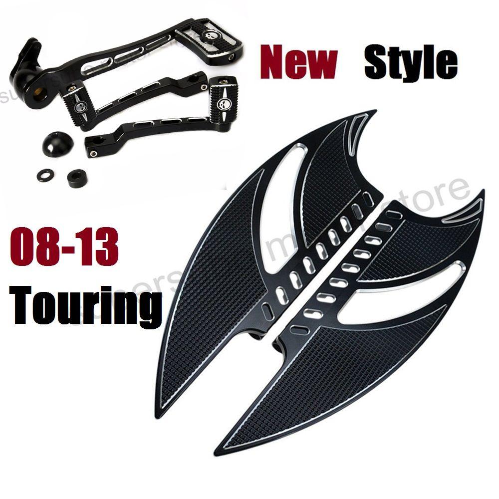Black Tomahawk footboard For harley road king floorboards harley brake arm kits shifter Shift Lever For Harley Touring 08-13